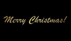Projeto de rotulação do Feliz Natal no fundo preto Ilustração do vetor Fotografia de Stock