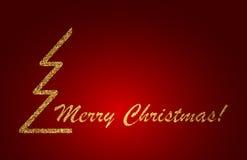 Projeto de rotulação do Feliz Natal no fundo vermelho Ilustração do vetor Imagem de Stock Royalty Free