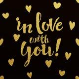 Projeto de rotulação do ouro para o cartão no amor com você Fotografia de Stock Royalty Free