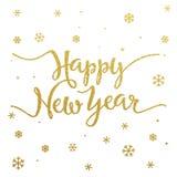 Projeto de rotulação do ouro pelo ano novo feliz do cartão Fotos de Stock Royalty Free