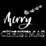 Projeto de rotulação clássico para cumprimentos de um Natal Santa Claus que monta um trenó com cervos do Natal Rebecca 36 Imagem de Stock
