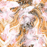 Projeto de seda do lenço dos círculos da cor do leopardo Fotografia de Stock Royalty Free