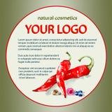 Projeto de um pacote para cosméticos com os ingredientes da pimenta, do mirtilo e da framboesa Foto de Stock Royalty Free