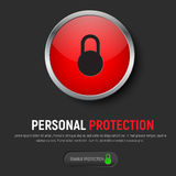 Projeto de uma bandeira preta da Web com um botão redondo vermelho e um ícone Fotografia de Stock Royalty Free