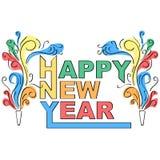 Projeto decorativo do ano novo feliz Imagens de Stock