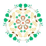 Projeto decorativo do teste padrão floral do espelho no fundo branco Fotografia de Stock Royalty Free