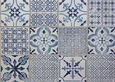 Projeto decorativo dos retalhos do teste padrão da telha - azul, branco Fotografia de Stock