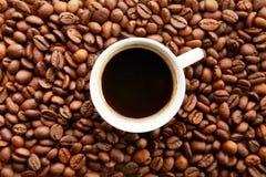Projeto dispersado do quadro dos feijões de café no fundo do espaço da cópia imagens de stock