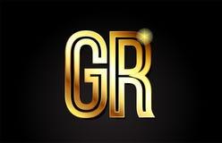 projeto do ícone da combinação do logotipo da GR g r da letra do alfabeto do ouro Imagem de Stock