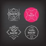 Projeto do ícone da padaria Vintage do crachá do menu ilustração royalty free