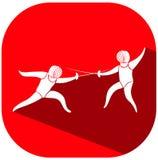 Projeto do ícone do esporte para cercar na etiqueta vermelha ilustração do vetor