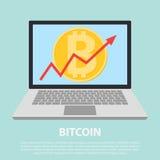 Projeto do ícone do Lat da linha seta do uptrend que quebra através do bitcoin na tabuleta A linha seta do Uptrend com bitcoin as ilustração royalty free