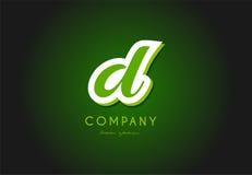 Projeto do ícone do vetor da empresa do verde 3d do logotipo da letra do alfabeto de D Fotos de Stock Royalty Free