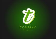 Projeto do ícone do vetor da empresa do verde 3d do logotipo da letra do alfabeto de T Imagem de Stock Royalty Free