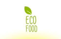 projeto do ícone do logotipo do conceito do texto da folha do verde do alimento do eco Imagem de Stock