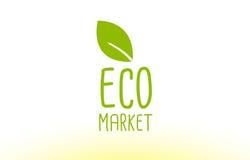 projeto do ícone do logotipo do conceito do texto da folha do verde do mercado do eco Imagem de Stock Royalty Free