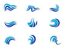Projeto do ícone do vetor do símbolo da água azul do logotipo das ondas de oceano do mar ilustração do vetor