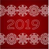 Projeto do ano novo feliz 2018 com a bola do White Christmas com floco de neve ilustração royalty free