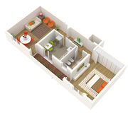 Projeto do apartamento - planta de assoalho 3d Foto de Stock Royalty Free