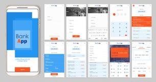 Projeto do app móvel UI, UX Um grupo de telas do GUI para a operação bancária móvel Foto de Stock