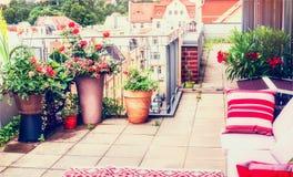 Projeto do balcão ou do pátio do terraço com os potenciômetros de flores confortáveis da mobília e do pátio do rattan Estilo de v imagem de stock royalty free