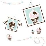 Projeto do bolo ajustado para o café Imagem de Stock