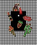 Projeto do bolso da camisa dos remendos com lantejoulas e grânulos do bordado Cacto, baga, paisley, batom, etiquetas do gelado ilustração royalty free
