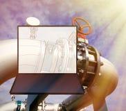 Projeto do cad do computador de Wireframe dos encanamentos fotografia de stock