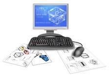 Projeto do CAD do produto no computador Fotografia de Stock