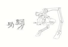 Projeto do CAD - o a lápis desenho do projeto original de 3 Walker Vehicle produziu em 3D CAD Imagens de Stock