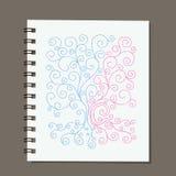 Projeto do caderno, árvore genealógica abstrata com raizes Foto de Stock