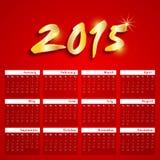Projeto do calendário das celebrações do ano novo de 2015 Imagens de Stock Royalty Free