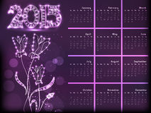 Projeto do calendário do ano novo 2015 Fotografia de Stock Royalty Free