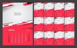 Projeto do calendário para 2019 Ajuste do molde da cópia do projeto do vetor de 12 páginas do calendário com lugar para a foto
