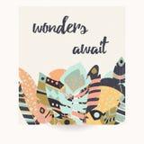 Projeto do cartão com citações inspiradas e as penas coloridas boêmias Imagens de Stock Royalty Free
