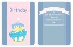 Projeto do cartão de aniversário, da parte dianteira e da parte traseira com bolo colorido Imagens de Stock Royalty Free