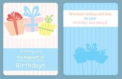 Projeto do cartão de aniversário, da parte dianteira e da parte traseira com presentes coloridos Imagem de Stock Royalty Free