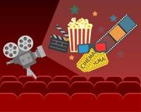 Projeto do cartaz do cinema do filme bandeira do vetor para a mostra ilustração royalty free