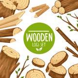 Projeto do cartaz com grupo de logs de madeira fotografia de stock royalty free