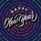 Projeto do cartaz do cumprimento da celebração da tipografia da rotulação do ano novo feliz fotos de stock