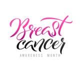 Projeto do cartaz da caligrafia da conscientização do câncer da mama do vetor Fita cor-de-rosa do curso outubro é mês da conscien Foto de Stock Royalty Free