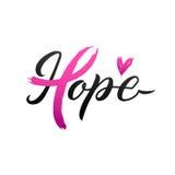 Projeto do cartaz da caligrafia da conscientização do câncer da mama do vetor Fita cor-de-rosa do curso outubro é mês da conscien Fotos de Stock Royalty Free