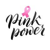 Projeto do cartaz da caligrafia da conscientização do câncer da mama do vetor Fita cor-de-rosa do curso outubro é mês da conscien Fotografia de Stock Royalty Free