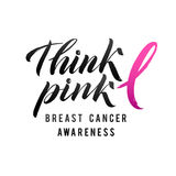 Projeto do cartaz da caligrafia da conscientização do câncer da mama do vetor Fita cor-de-rosa do curso outubro é mês da conscien Fotos de Stock