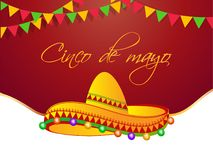 Projeto do cartaz da celebração de Cinco De Mayo com ilustração de bandeiras do chapéu e da estamenha do sombreiro ilustração stock