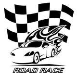 Projeto do cartaz da competição automóvel em preto e branco Imagem de Stock Royalty Free