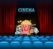 Projeto do cartaz da premier do cinema do filme Vector a bandeira do molde para a mostra com cortinas, assentos, pipoca, bilhetes ilustração royalty free