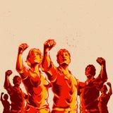 Projeto do cartaz da revolução do punho do protesto da multidão ilustração do vetor