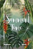 Projeto do cartaz da temporada de verão Perdido na escrita do paraíso em um tropi Foto de Stock Royalty Free