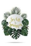 Projeto do cartaz da temporada de verão Perdido na escrita do paraíso em um tropi Fotos de Stock Royalty Free
